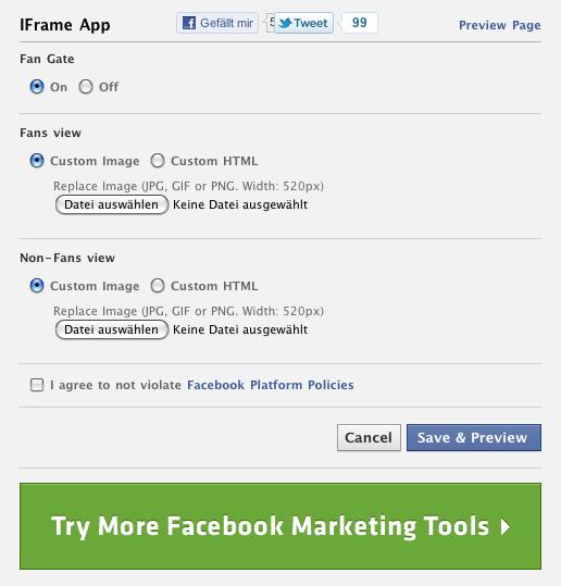 Facebook iFrames mit App erstellen