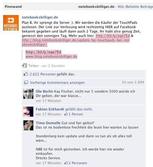 Aktion von Notebooksbilliger auf Facebook - Kommentare